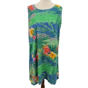 Jams World Hawaiian Blue Green Floral Dress Large